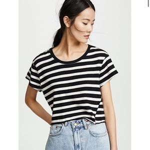pam & gela // black and white striped cropped tee